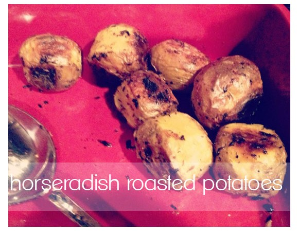 horseradish roasted potatoes with text