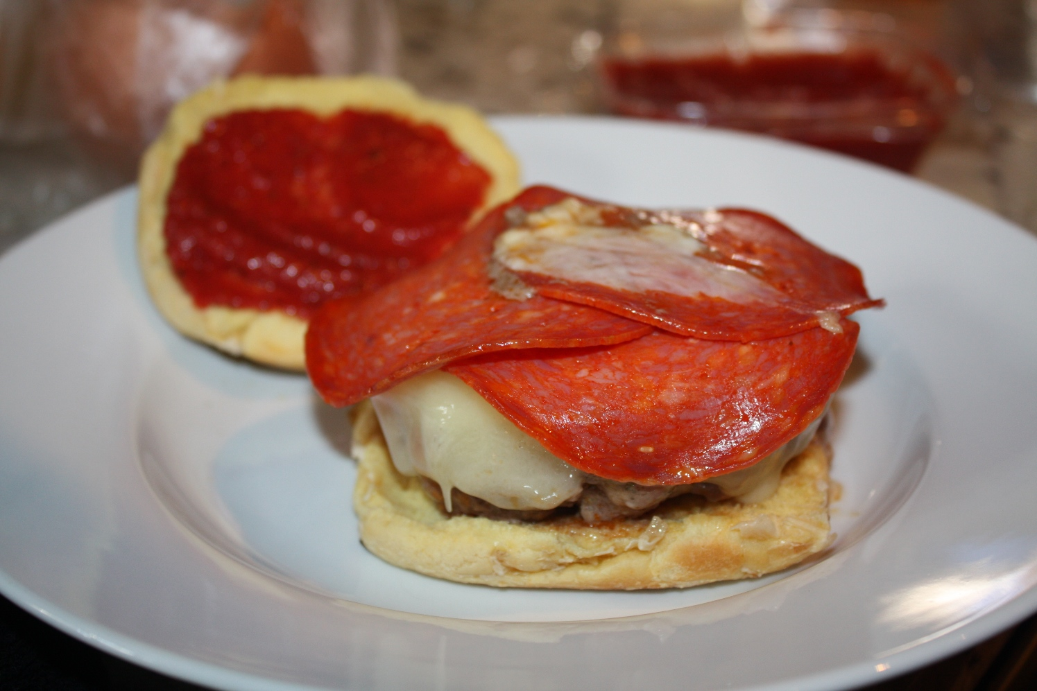 PW's pepperoni pizza burgers